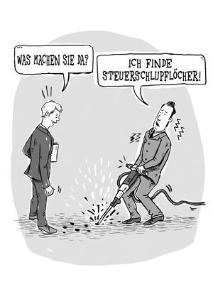 Steuerschlupflöcher finden - Karikatur von (c) Jana Moskito